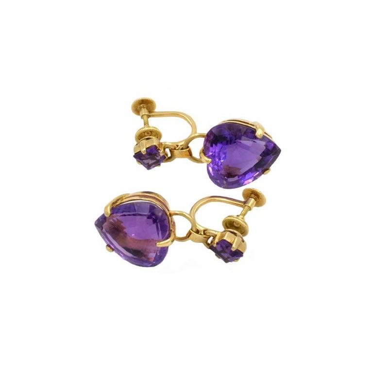 Women's Tiffany & Co. Amethyst Heart Retro Earrings For Sale