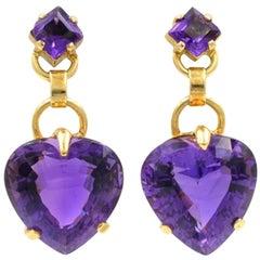 Tiffany & Co. Amethyst Heart Retro Earrings
