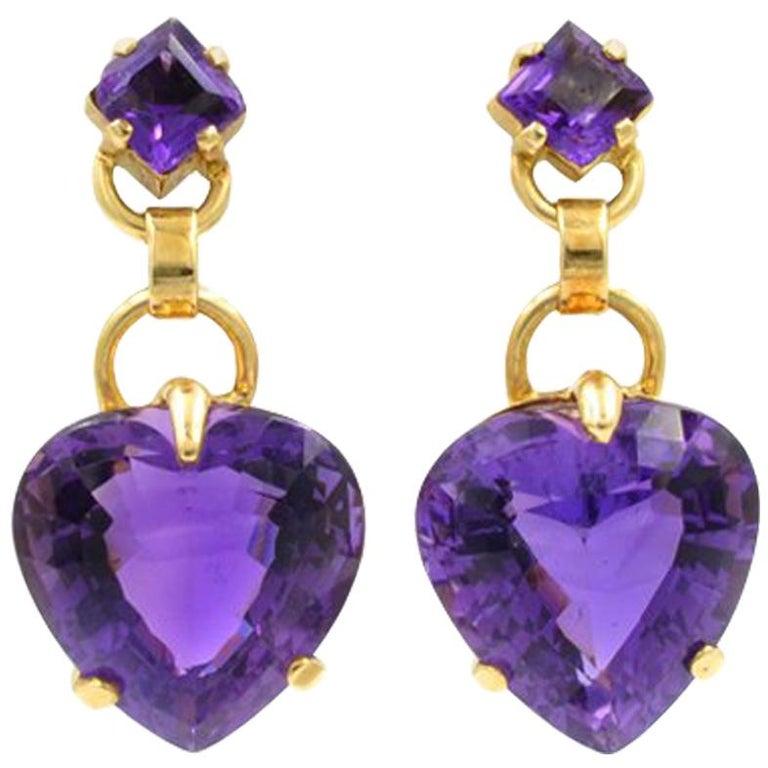 Tiffany & Co. Amethyst Heart Retro Earrings For Sale