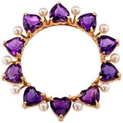 Tiffany & Co. Amethyst Pearl Gold Circle Brooch
