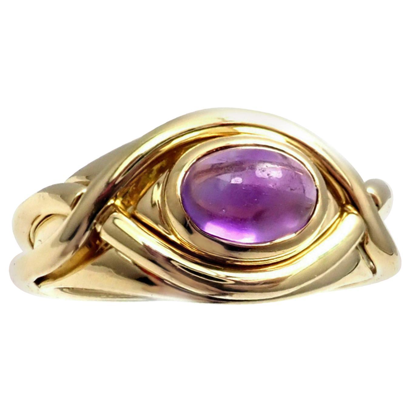 Tiffany & Co. Amethyst Twist Yellow Gold Band Ring