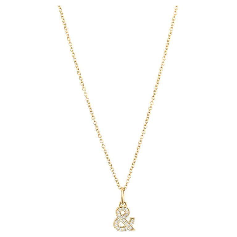 Tiffany & Co. Ampersand Pendant in 18k Gold with .07 Ctw Diamonds For Sale