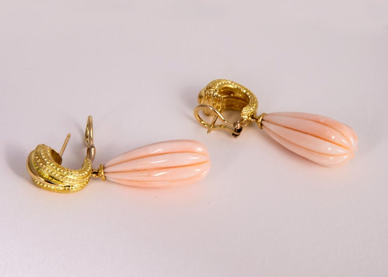 Tiffany & Co. Angel Skin Coral Drop Earrings In Excellent Condition For Sale In Atlanta, GA