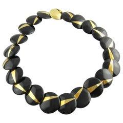 Tiffany & Co. Angela Cummings 18 Karat Gold Black Onyx Lentil Disc Necklace