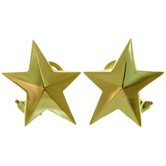Tiffany & Co. Angela Cummings 5 Pointed Star Yellow Gold Clip-On Earrings