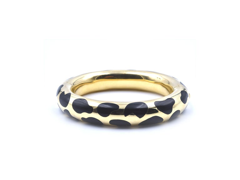 Tiffany & Co. Angela Cummings Gold and Black Jade Cheetah Print Bangle In Excellent Condition For Sale In Scottsdale, AZ
