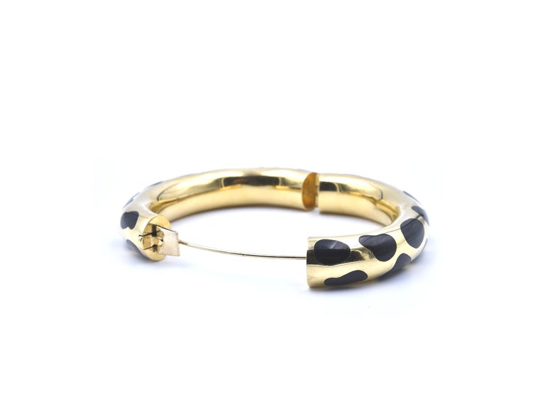 Women's Tiffany & Co. Angela Cummings Gold and Black Jade Cheetah Print Bangle For Sale
