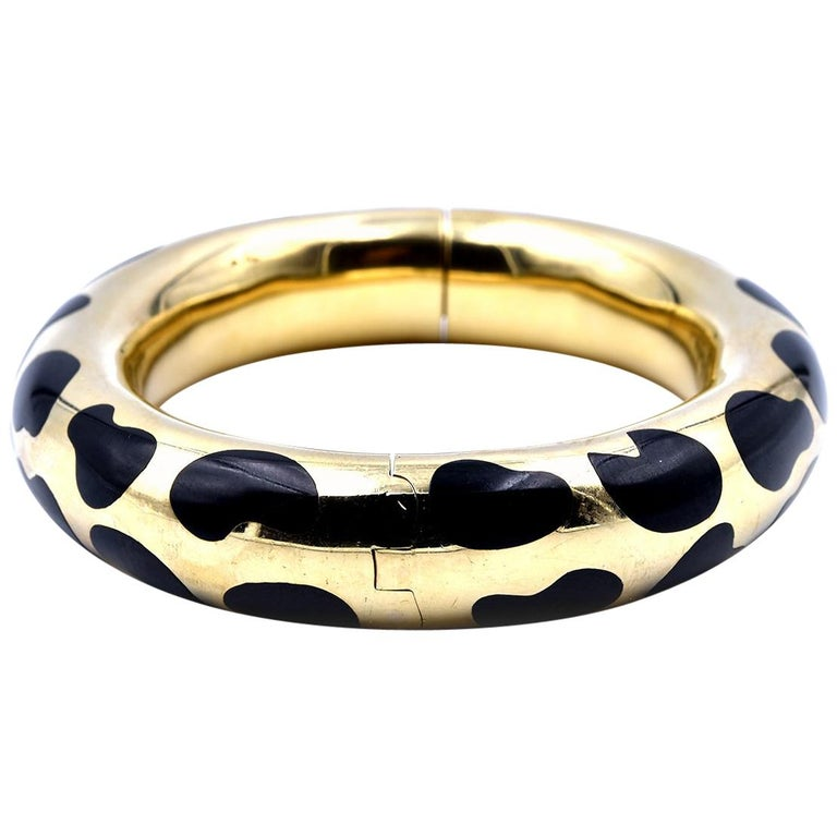 Tiffany & Co. Angela Cummings Gold and Black Jade Cheetah Print Bangle For Sale