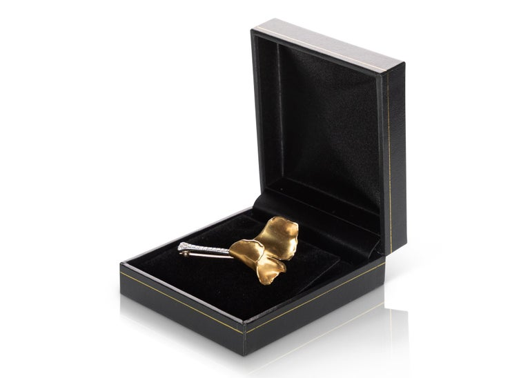 Round Cut Tiffany & Co. Angela Cummings Gold Diamond Platinum Ginko Leaf Brooch For Sale