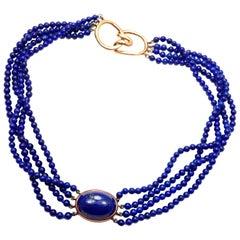 Tiffany & Co. Angela Cummings Lapis Lazuli Yellow Gold Choker Necklace
