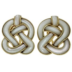 Tiffany & Co. Angela Cummings Mother-of-Pearl Yellow Gold Knot Earrings