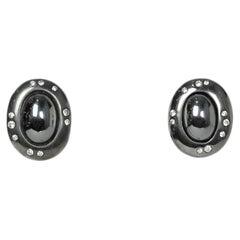 Tiffany & Co Angela Cummings Sterling Silver Clip Earrings w/ Hematite & Diamond