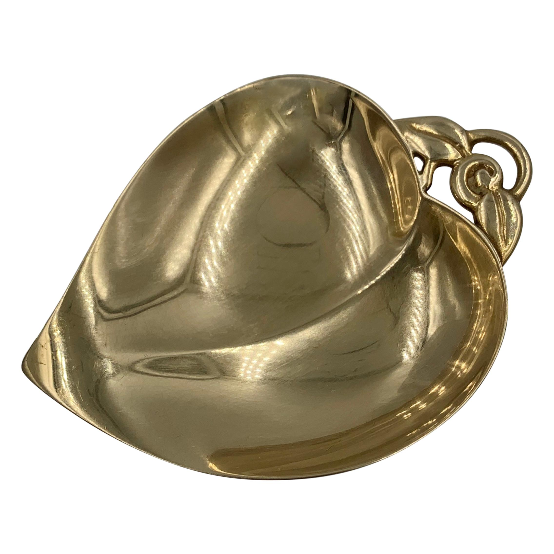 Tiffany & Co. Antique 14 Karat Gold Bowl Circa 1920 Leaf Motif Rare