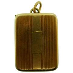 Tiffany & Co. Antique 14k Yellow Gold Locket / Pill Box Pendant Charm, c. 1930s