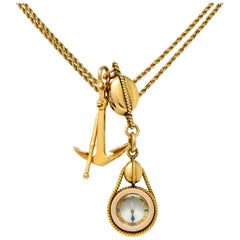 Tiffany & Co. Antique 18 Karat Gold Nautical Watch Chain Anchor Compass Pendant