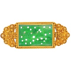 Tiffany & Co. Antique Carved Jade Gold Brooch