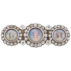Tiffany & Co. Antique Diamond Gold Silver Miniature Portrait Brooch