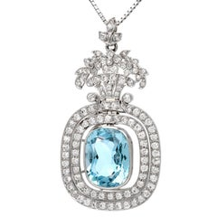 Tiffany & Co. Antique Floral Aquamarine Diamond Pendant Enhancer