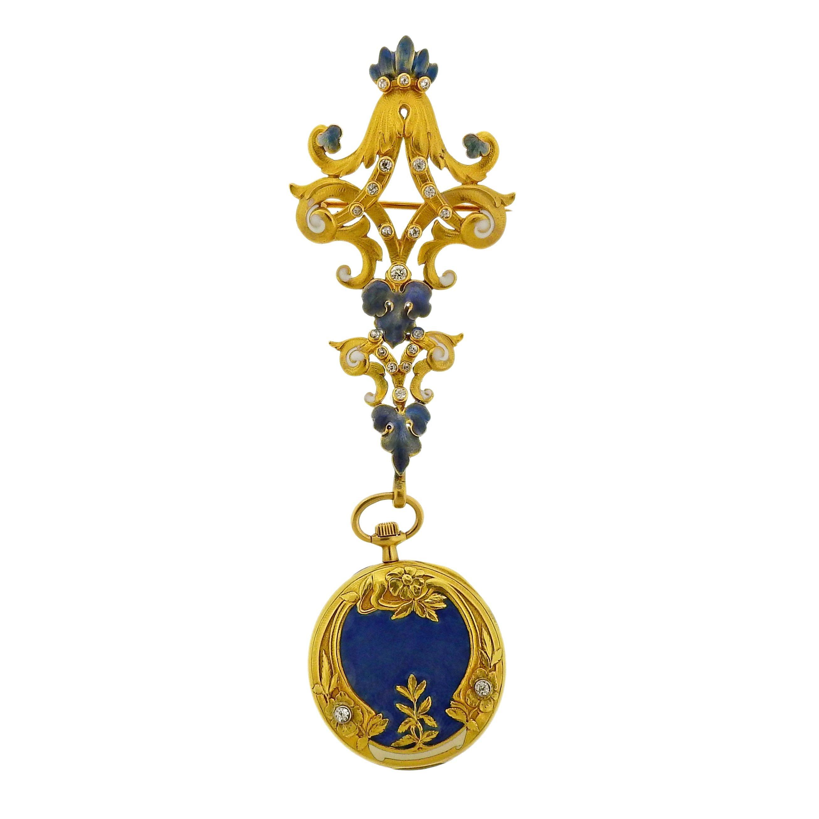 Tiffany & Co. Antique Guilloche Enamel Diamond Gold Lapel Watch