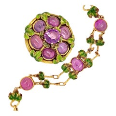 Tiffany & Co. Antique Pink Sapphire Enamel Brooch and Bracelet, circa 1900