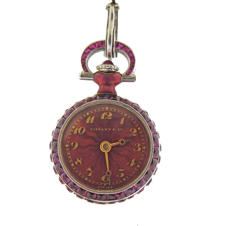 Art Deco Tiffany & Co. Antique Platinum Ruby Diamond Pocket Watch Pendant Necklace For Sale
