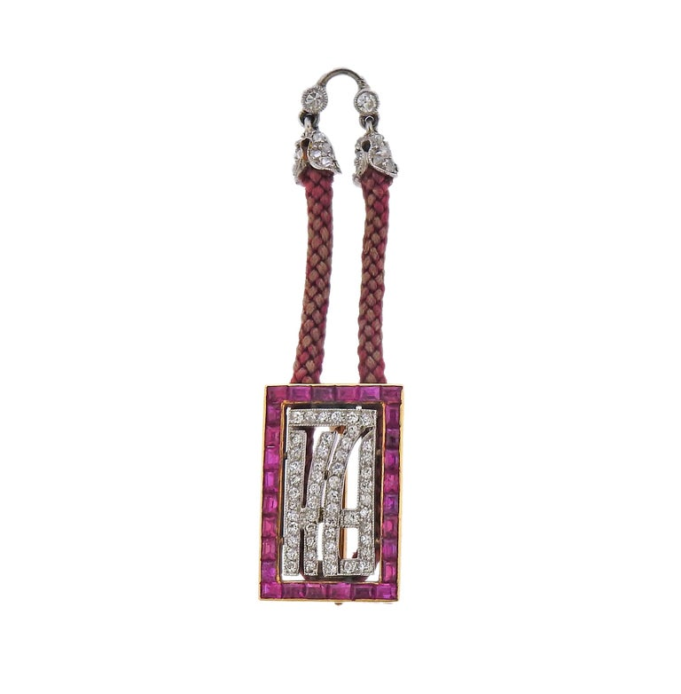 Round Cut Tiffany & Co. Antique Platinum Ruby Diamond Pocket Watch Pendant Necklace For Sale