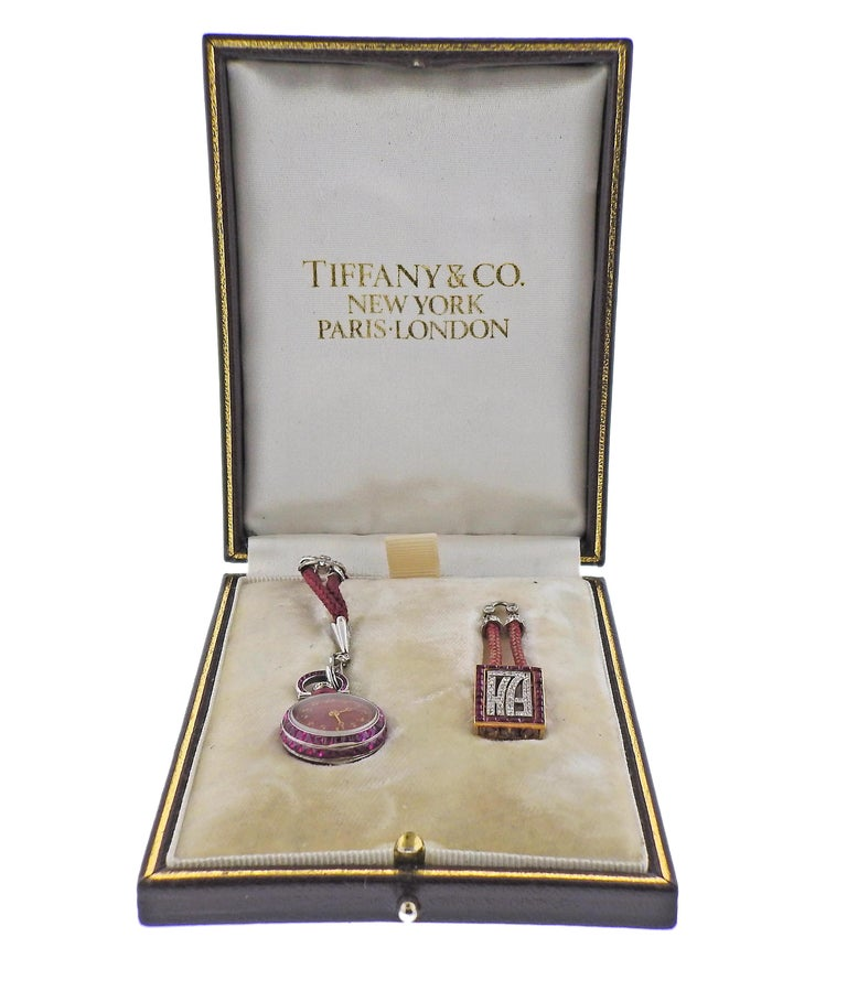 Tiffany & Co. Antique Platinum Ruby Diamond Pocket Watch Pendant Necklace In Excellent Condition For Sale In New York, NY