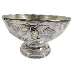 Tiffany & Co. Applied & Hand Hammered Sterling Silver Centerpiece Bowl