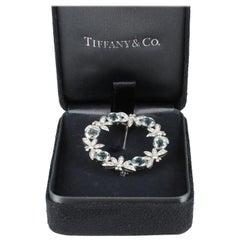 Tiffany & Co. Aquamarine and Diamond Pin in Platinum