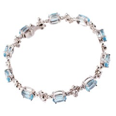 "Tiffany & Co. Aquamarine Diamond Bracelet from the ""Snowflake Collection"""