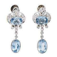 Tiffany & Co. Aquamarine Diamond Platinum Screwback Earrings