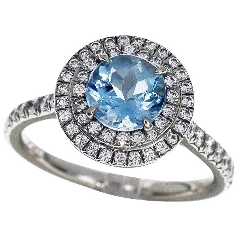 6df6b8c14 Tiffany & Co. 0.70 Carat Aquamarine 0.43 Carat Diamond Platinum Soleste Ring  For Sale