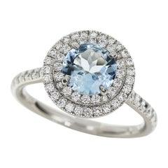 Tiffany & Co. Aquamarine Diamond Platinum Soleste Small Model Ring