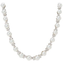 Tiffany & Co. Aria Diamond and Akoya Pearl Necklace in Platinum 5.40 Carat