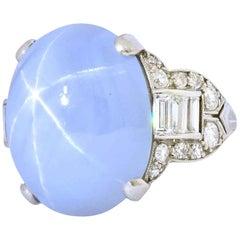 Tiffany & Co. Art Deco 21.00 Carat Star Sapphire Diamond Platinum Cocktail Ring
