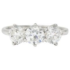 Tiffany & Co. Retro 2.19 Carats Diamond Platinum Three Stone Ring GIA