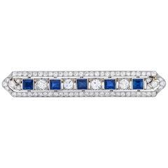Tiffany & Co. Art Deco 5.04 Carat Sapphire Diamond Platinum Bar Brooch