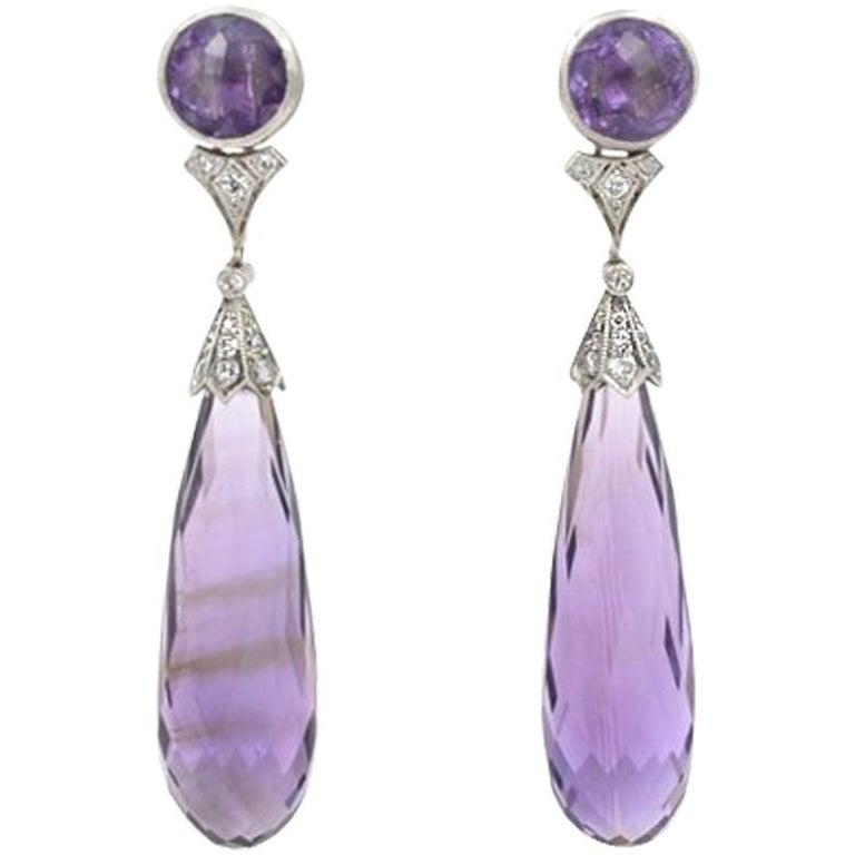 Tiffany & Co. Art Deco Amethyst Earrings For Sale