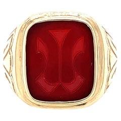 Tiffany & Co. Art Deco Carnelian Signet Ring
