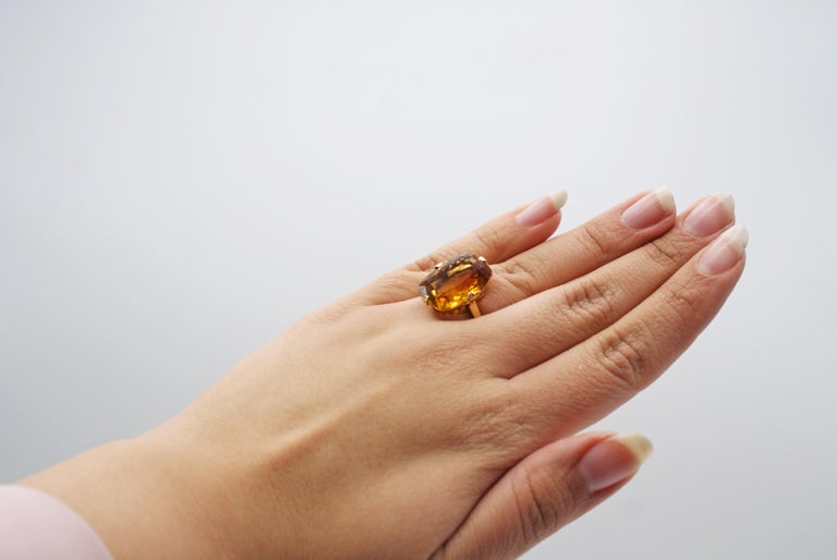 Women's or Men's Tiffany & Co. Art Deco Citrine 18 Karat Gold Ring For Sale