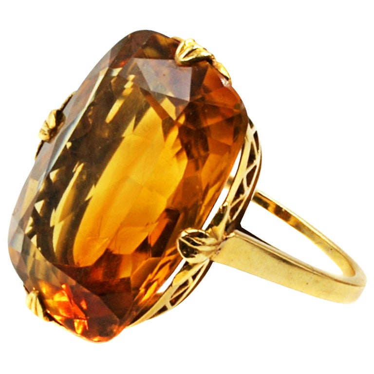 Tiffany & Co. Art Deco Citrine 18 Karat Gold Ring For Sale