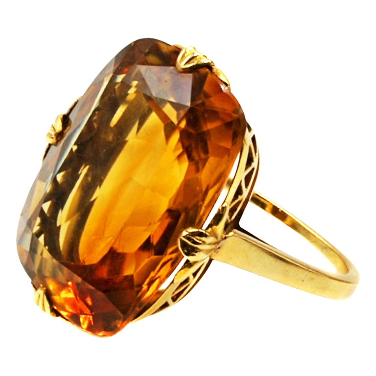 Tiffany & Co. Art Deco Citrine 18 Karat Gold Ring For Sale