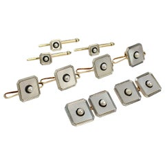 Tiffany & Co Art Deco Cufflink Dress Set in 14K Gold & Platinum with Seed Pearls