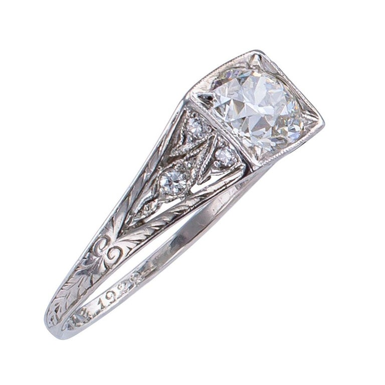 Tiffany & Co. Art Deco Diamond Platinum Engagement Ring In Good Condition For Sale In Los Angeles, CA