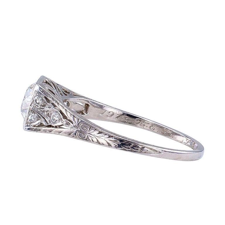 Women's Tiffany & Co. Art Deco Diamond Platinum Engagement Ring For Sale