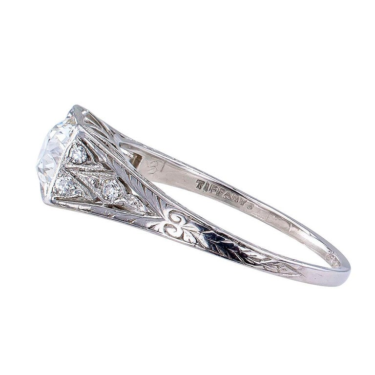 Tiffany & Co. Art Deco Diamond Platinum Engagement Ring For Sale 1