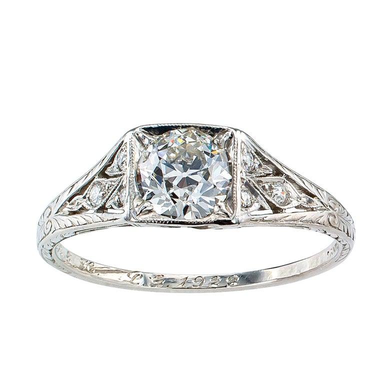 Tiffany & Co. Art Deco Diamond Platinum Engagement Ring For Sale