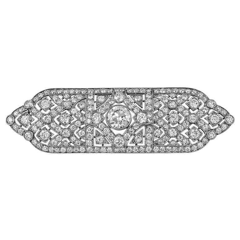 Tiffany & Co. Art Deco Diamond Platinum Gold Bar Brooch