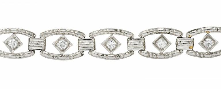 Tiffany & Co. Art Deco Diamond Platinum Link Bracelet In Excellent Condition For Sale In Philadelphia, PA
