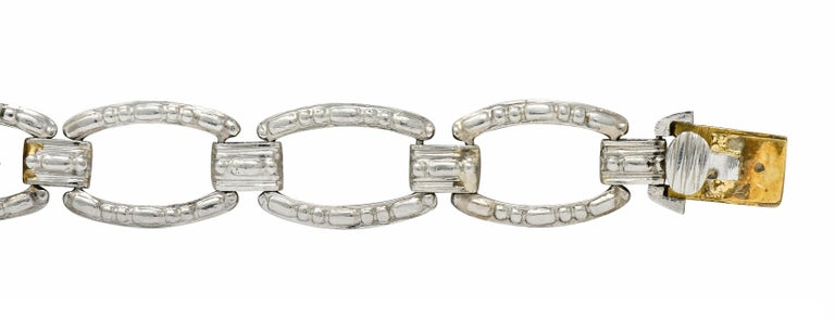 Women's or Men's Tiffany & Co. Art Deco Diamond Platinum Link Bracelet For Sale